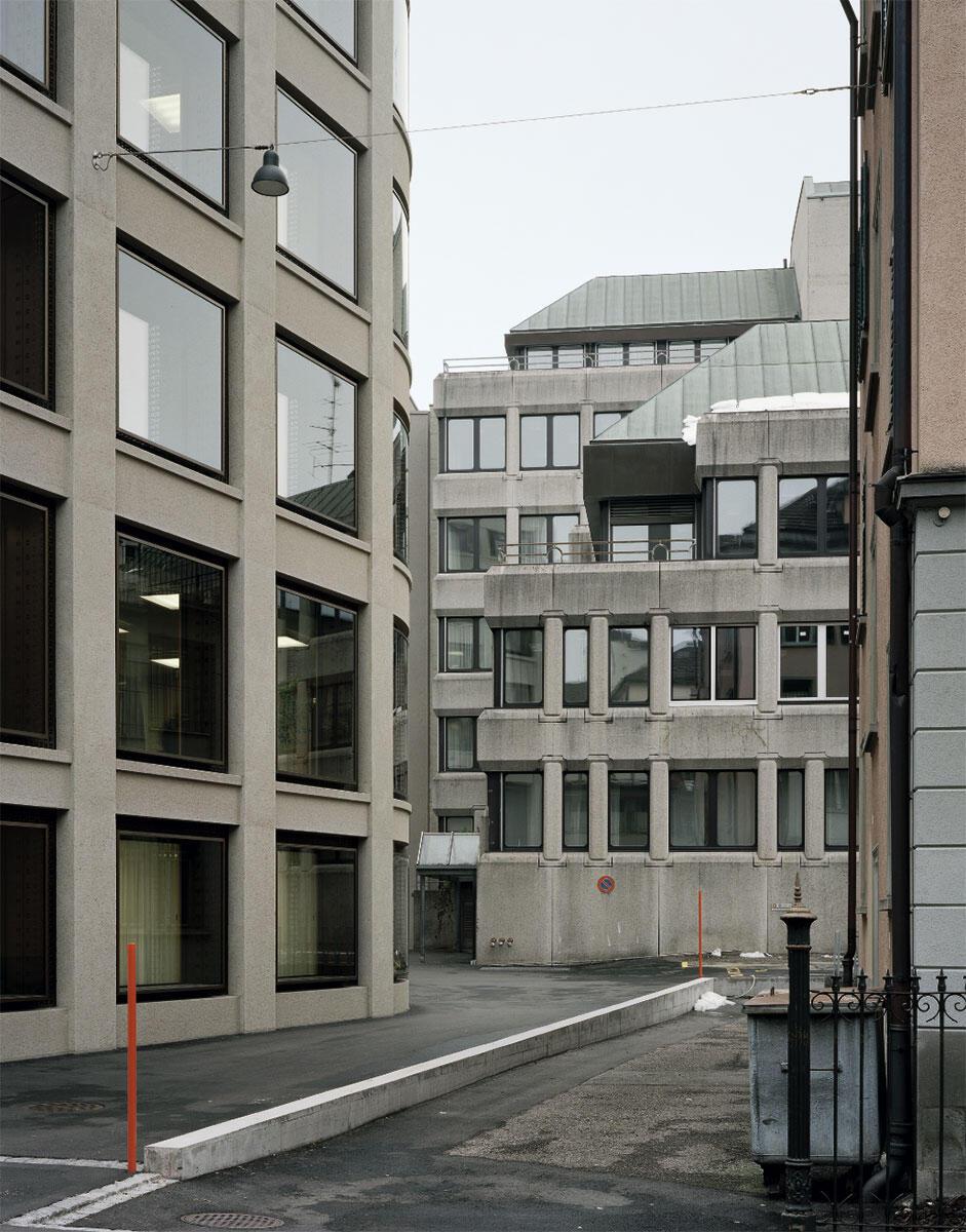 Verwaltungszentrum in St. Gallen von Jessen Vollenweider: Die Hoffassaden sind gleichwertig zur Vorderfront gestaltet.
