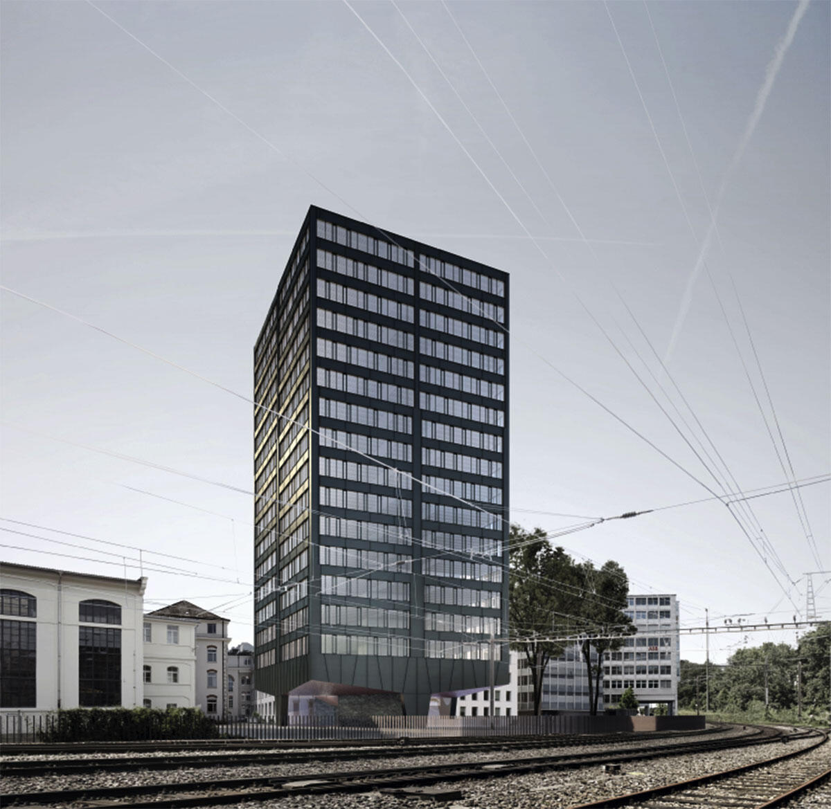 Hart am Gleis: Eines von zwei geplanten Hochhäusern in Baden-Nord von pool und Meier Hug Architekten.