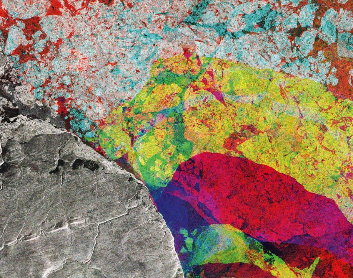 Die Kombination dreier Radarbilder des Satelliten Sentinel-1 veranschaulicht die zeitliche Veränderung des arktischen Eisschildes im äussersten Norden Kanadas. Der ungewöhnliche Schwund zeigt sich im Unterschied von Rot (Dezember 2016) zu Gelb (Februar 2016). Bild: ESA