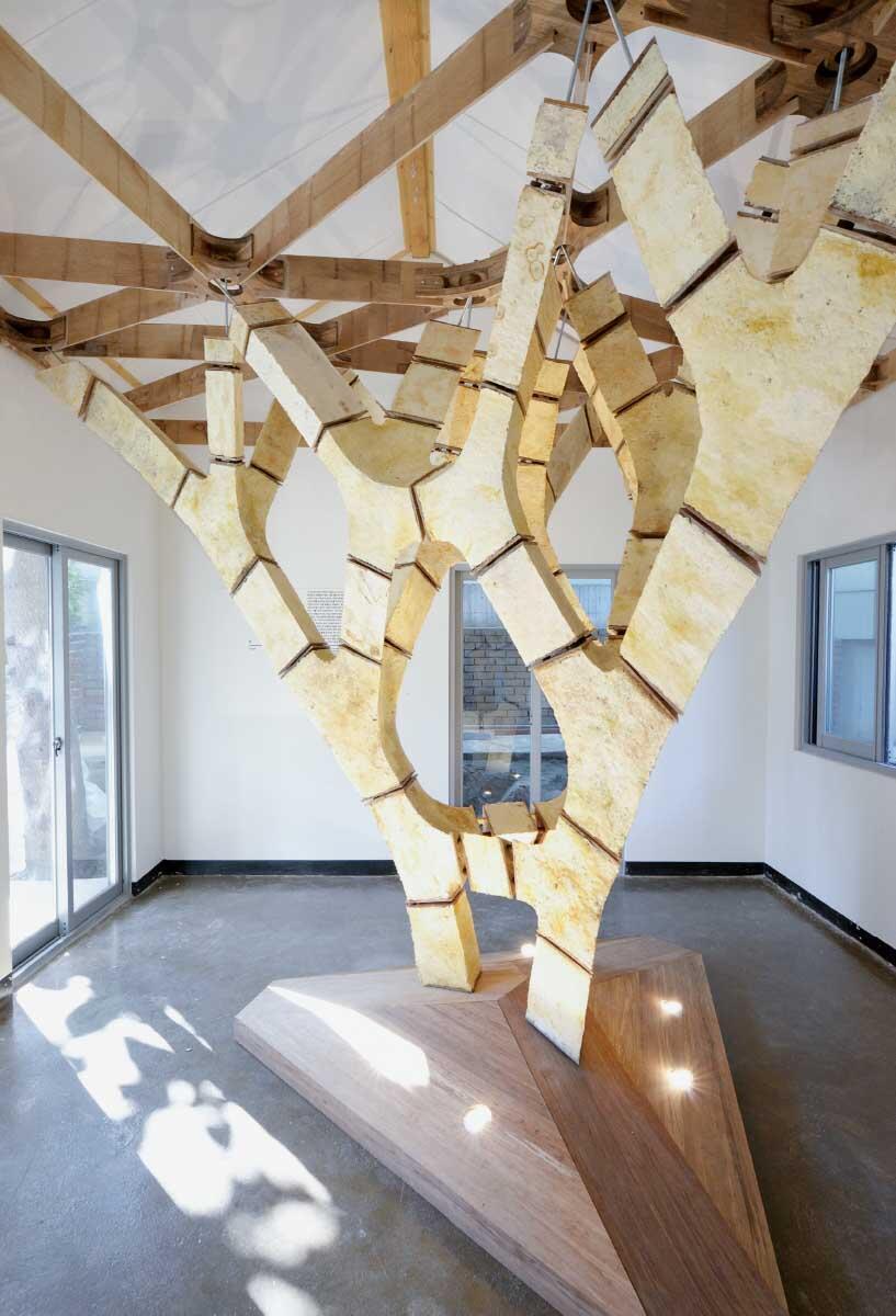 Nachwachsende Alternative: eine selbsttragende Struktur aus Pilzmyzelium und Bambus.  Bild: Carlina Teteris