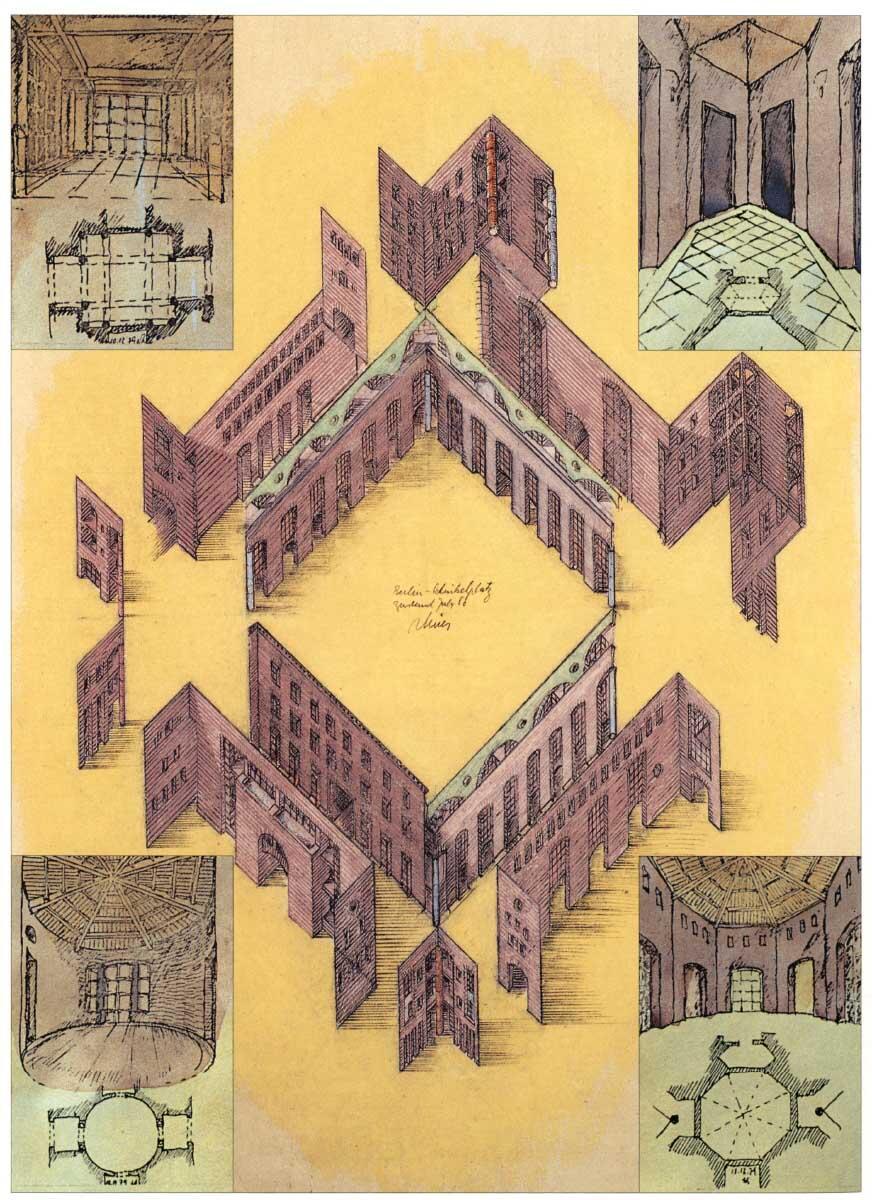 Was im Städtebau der Platz, ist der Wohnung die Diele: ein atmosphärisches und verkehrliches Zentrum.  Zeichnung aus: Rob Krier, Architecture and Urban Design, London 1993.