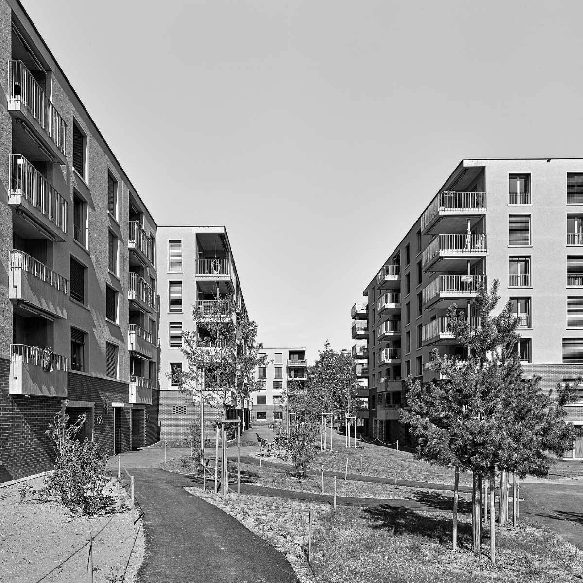 Vor- und zurückspringende Gebäude gliedern den parkartig grünen Innenhof. Bild: Roland Bernath