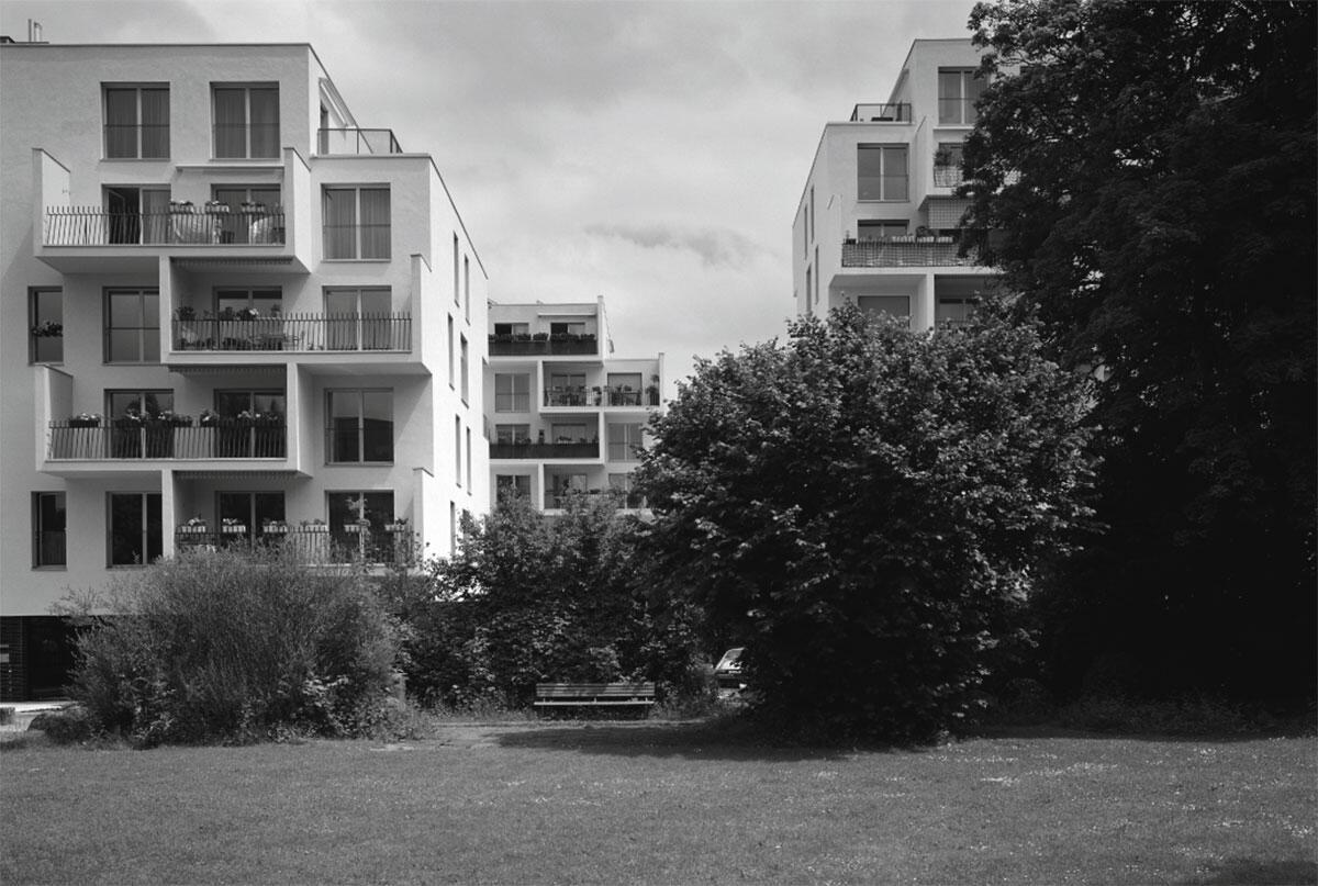 Ansicht vom Park im Westen: Siedlung «Frieden» in Zürich-Affoltern von pool Architekten.