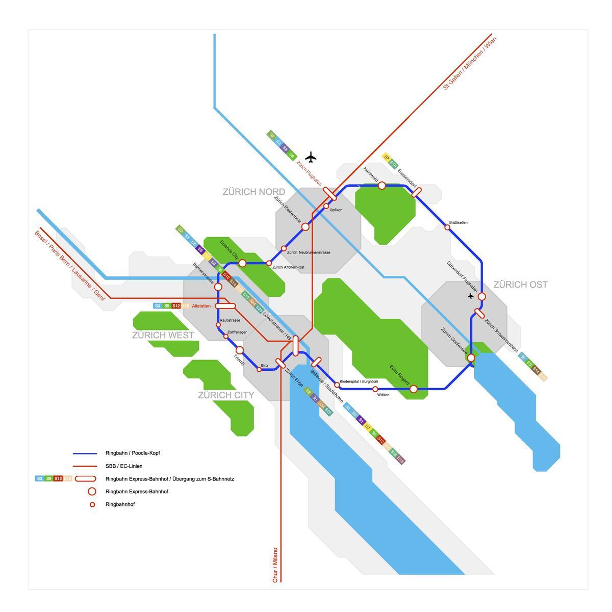 Der Pudelkopf: Eine Ringbahn könnte das Stadtzentrum von Zürich entlasten und Brennpunkte von Stadt und Region verbinden.