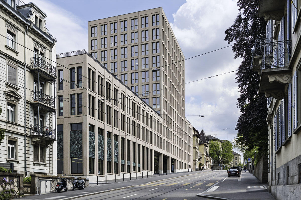 Eingereiht in die Strassenflucht der Leonhardstrasse, überwindet das ETH-Gebäude LEE den Höhensprung mit einem Sockel, der sich streckt und staucht. Architektur von Fawad Kazi.