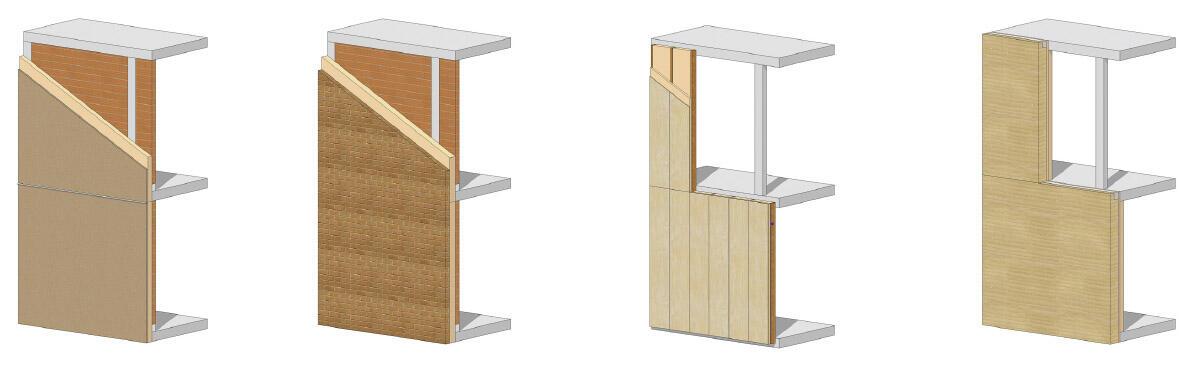 Baukastensystem Fassade (von links nach rechts): Lehmputz auf Aussenwärmedämmung. Aussenhülle aus Lehmsteinen. Holzfassaden natur oder thermobehandelt. Fassaden aus Stampflehm.
