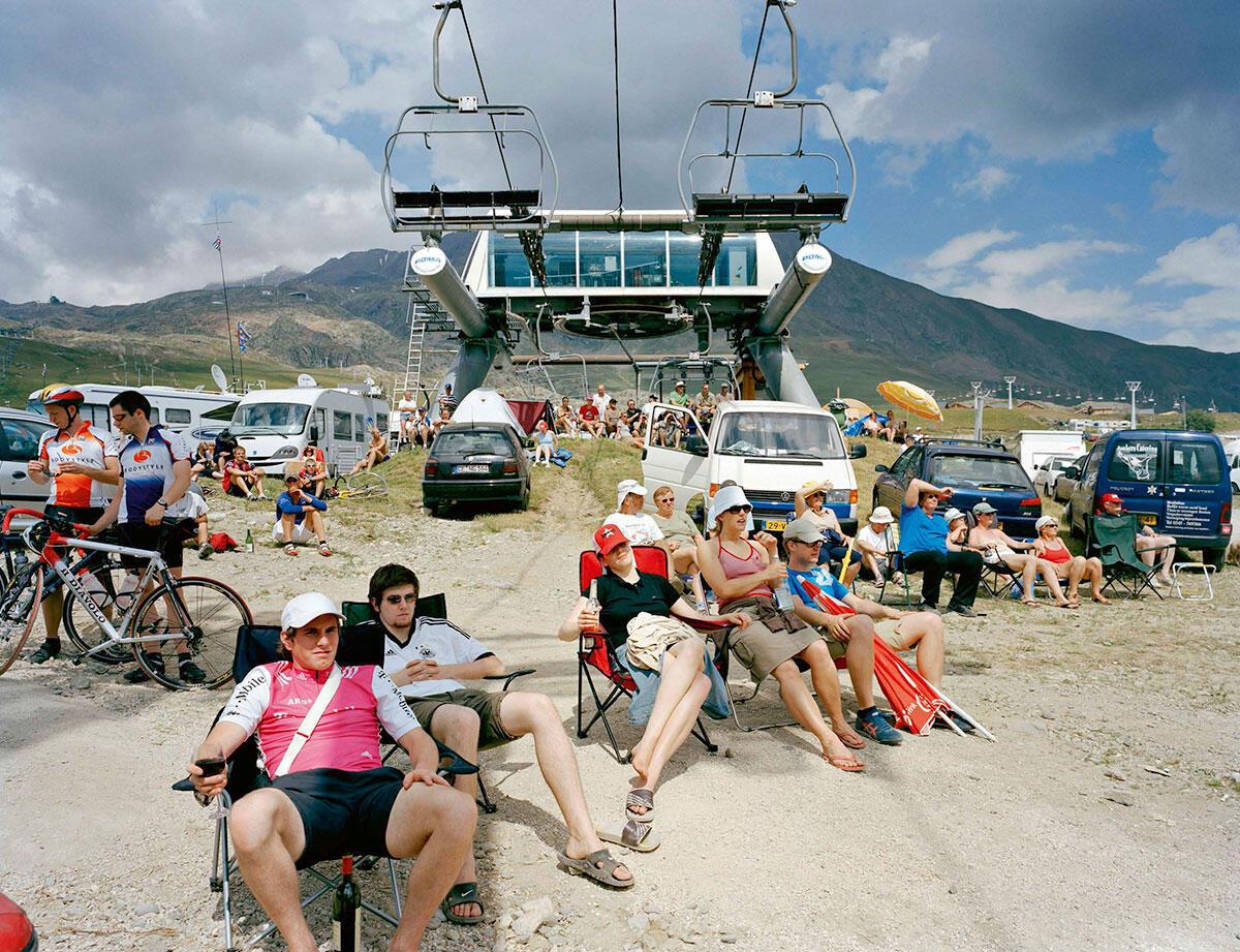 Schlachtenbummler am Zeitfahren auf der Alpe d\\'Huez.