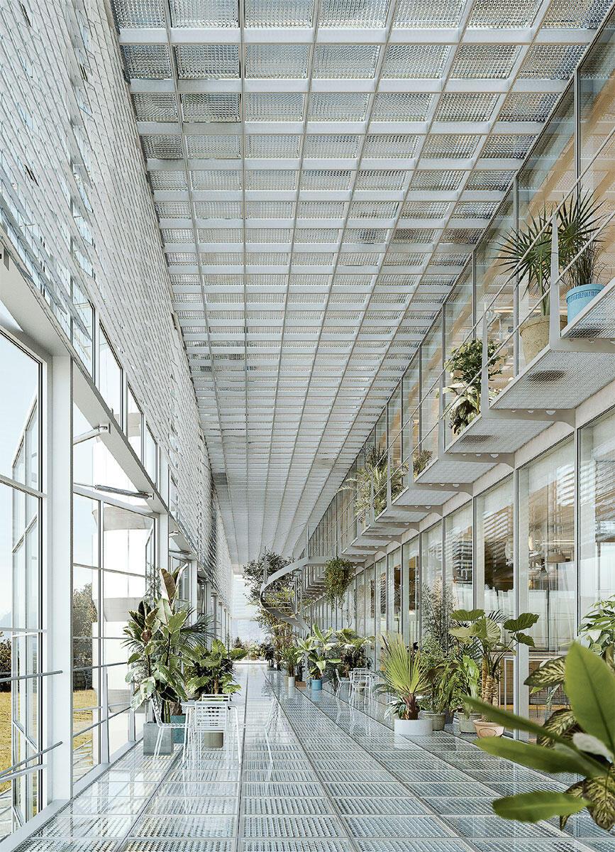 Mit dem Erfolg im Wettbewerb für ein Life-Science-Gebäude der Universität Lausanne (zusammen mit Baukunst, Brüssel) machte Bruther auch in der Schweiz auf sich aufmerksam. Rendering der offenen Begegnungszone.