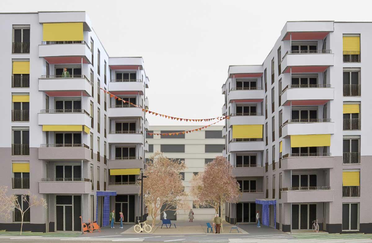 Drei Baukörper spielen mit Topografie und Strassenraum. Öffentliche Funktionen bilden trotz überwiegender Wohnnutzung öffentliche Orte.  Bild: Michel Bonvin