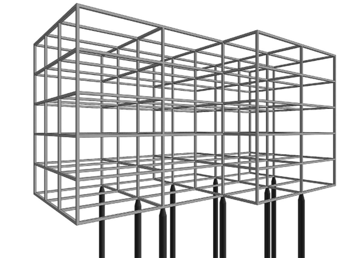 Auf wenigen, beispielsweise nach den Erfordernissen des Baugrundes gesetzte Pfählen wird eine Tragstruktur konstruiert, bei der Stahl und Holz «dialektisch» ineinanderwirken. Das Stahlskelett baut auf einem Raster auf, bei dem entsprechend den Tragleistungen der beiden Materialien ungefähr gleiche Konstruktionshöhen resultieren.