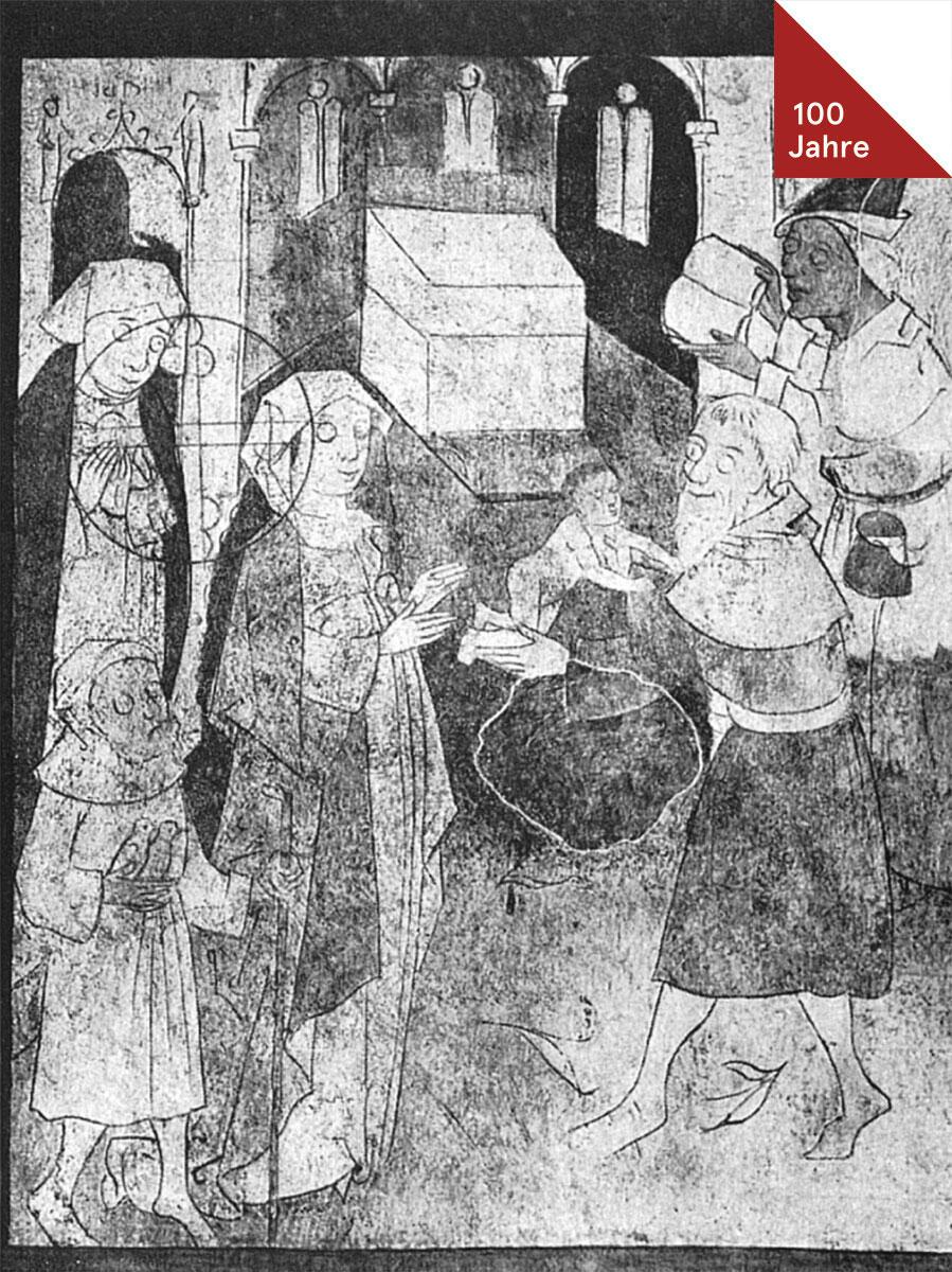 Darstellung im Tempel, Wandmalerei des 15. Jahrhunderts in der Kirche Saanen