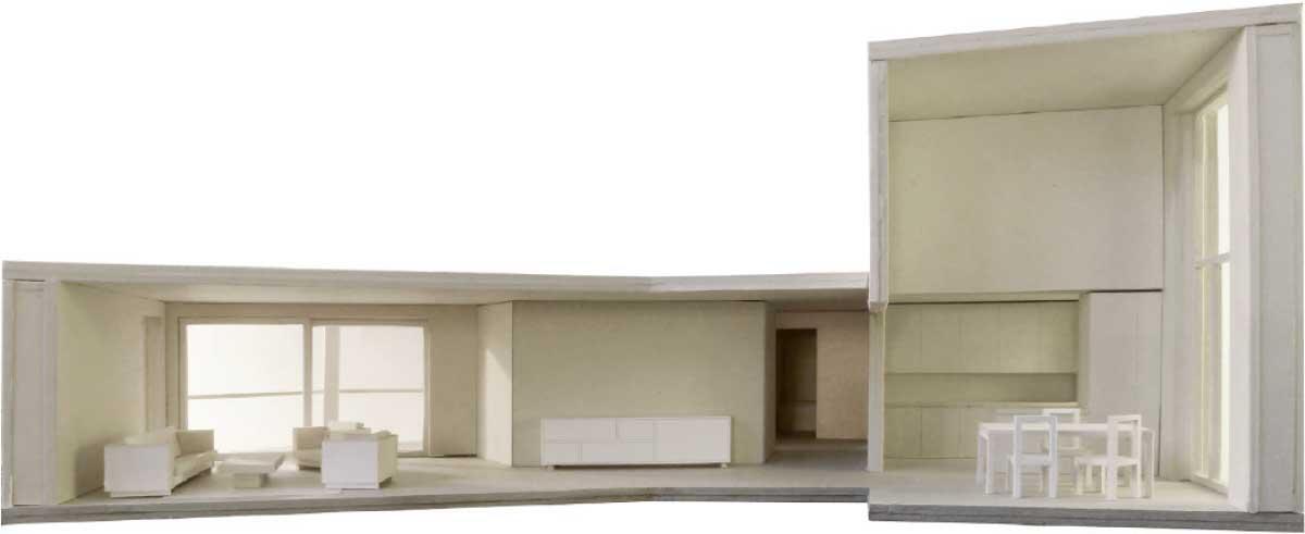 Grundriss und Schnitt einer Wohnung (Überarbeitung Stand Wettbewerb, Februar 2012) Modellbild: Duplex