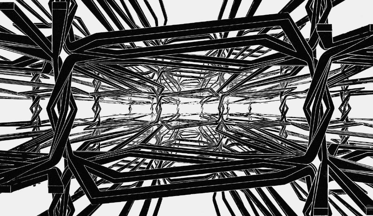 Konrad Wachsmann, Grapevine Structure, Raumstruktur resultierend aus der Verbindung mehrer Knoten.  Bild: Akademie der Künste, Berlin, Konrad-Wachsmann-Archiv