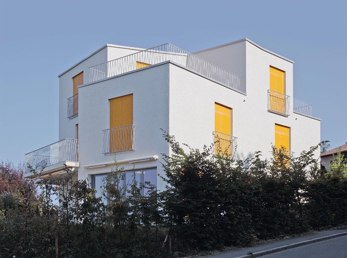 Spiel mit Typologie und Geometrie: Der Bau von Piotr Brzoza und Gunz & Künzle bricht mit dem gewohnten Bild des Doppeleinfamilienhauses, indem er dessen Programm zu einem polygonalen Volumen verschmelzt.