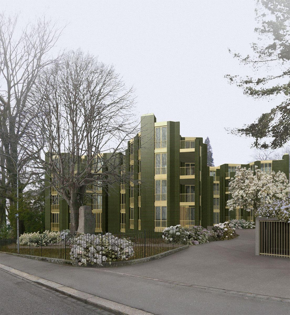 EMI Architekten. Wohnungsbau Steinwies-/Irisstrasse, Zürich-Hottingen, Wettbewerb 2001, 1. Preis, Planung und Ausführung 2011-2013. Der Bau entzieht sich einer eindeutigen typologischen und stilistischen Zuordnung.