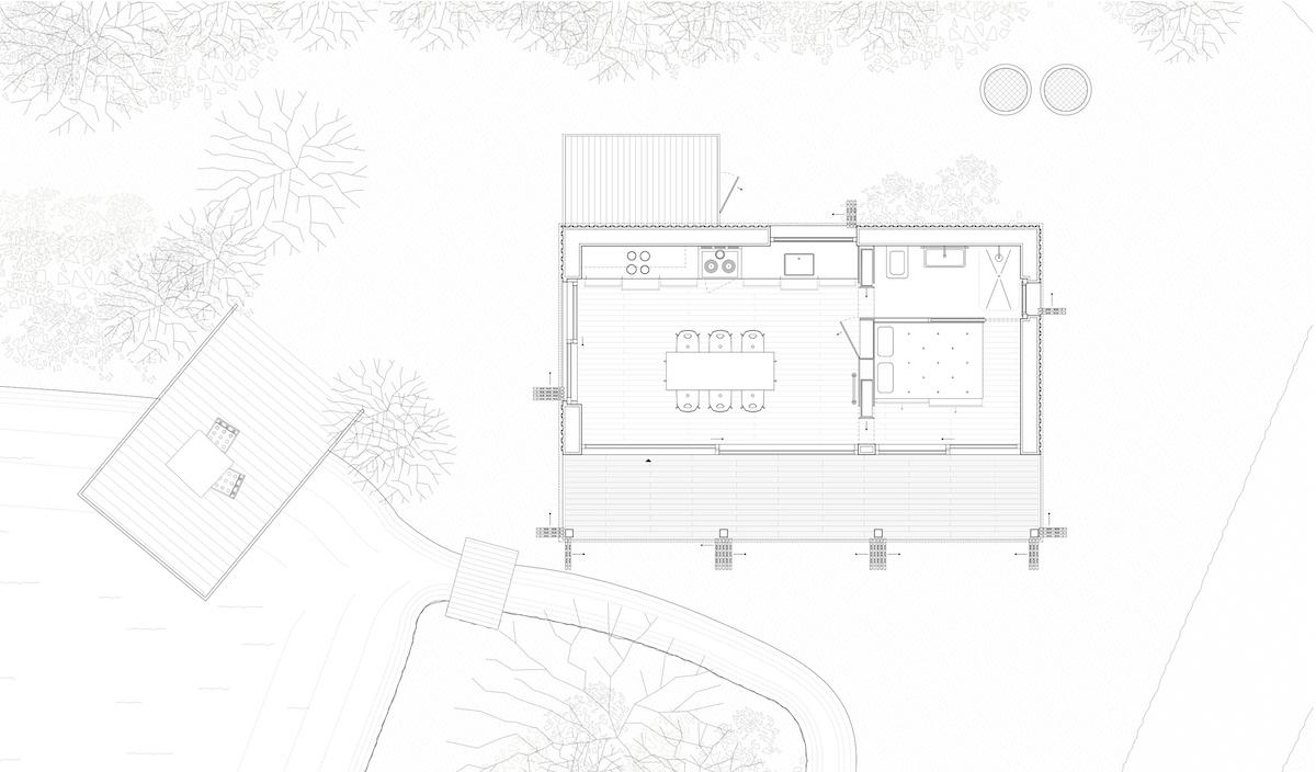 Der minimale Grundriss ist optimal genutzt, Trennwände sind Wandschränke.