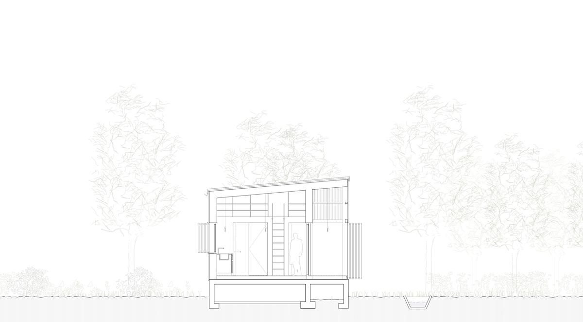 Die räumliche Optimierung mit der Galerie unter dem Pultdach wird im Schnitt offensichtlich.