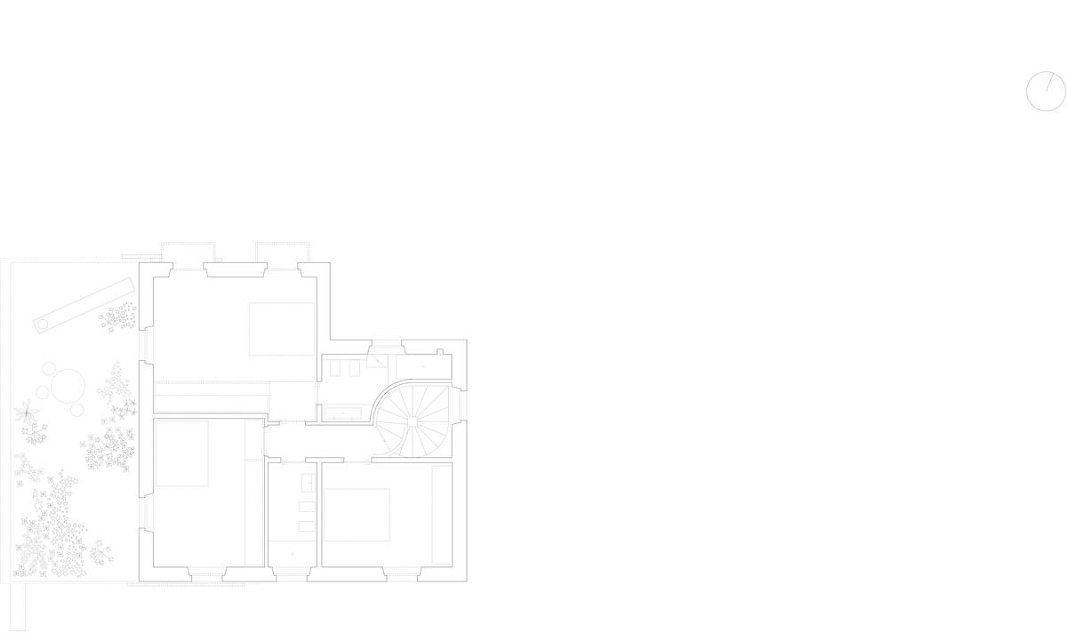 Die minimierte neue Erschliessung der oberen Etage hält Platz für ein Bad frei.