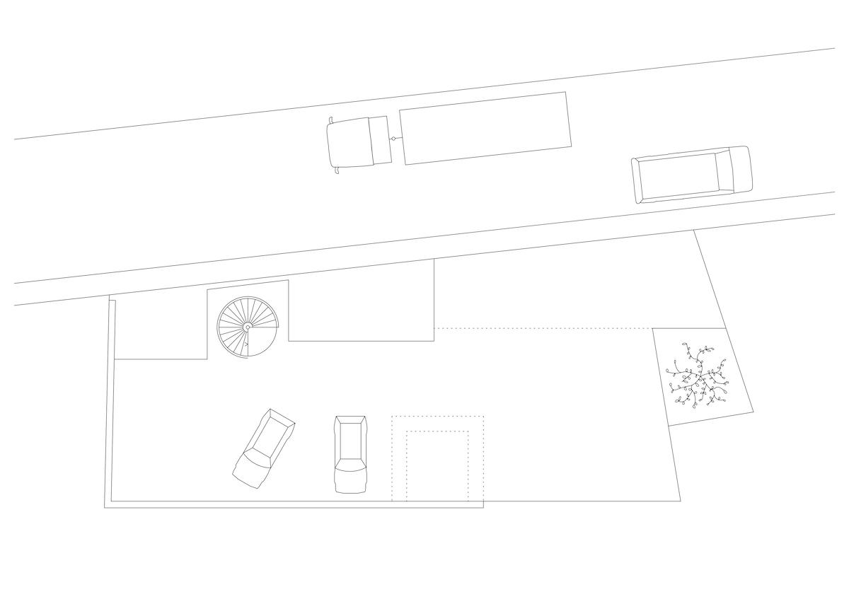 Auf dem Strassengeschoss ist die Terrasse auch Parkplatz.