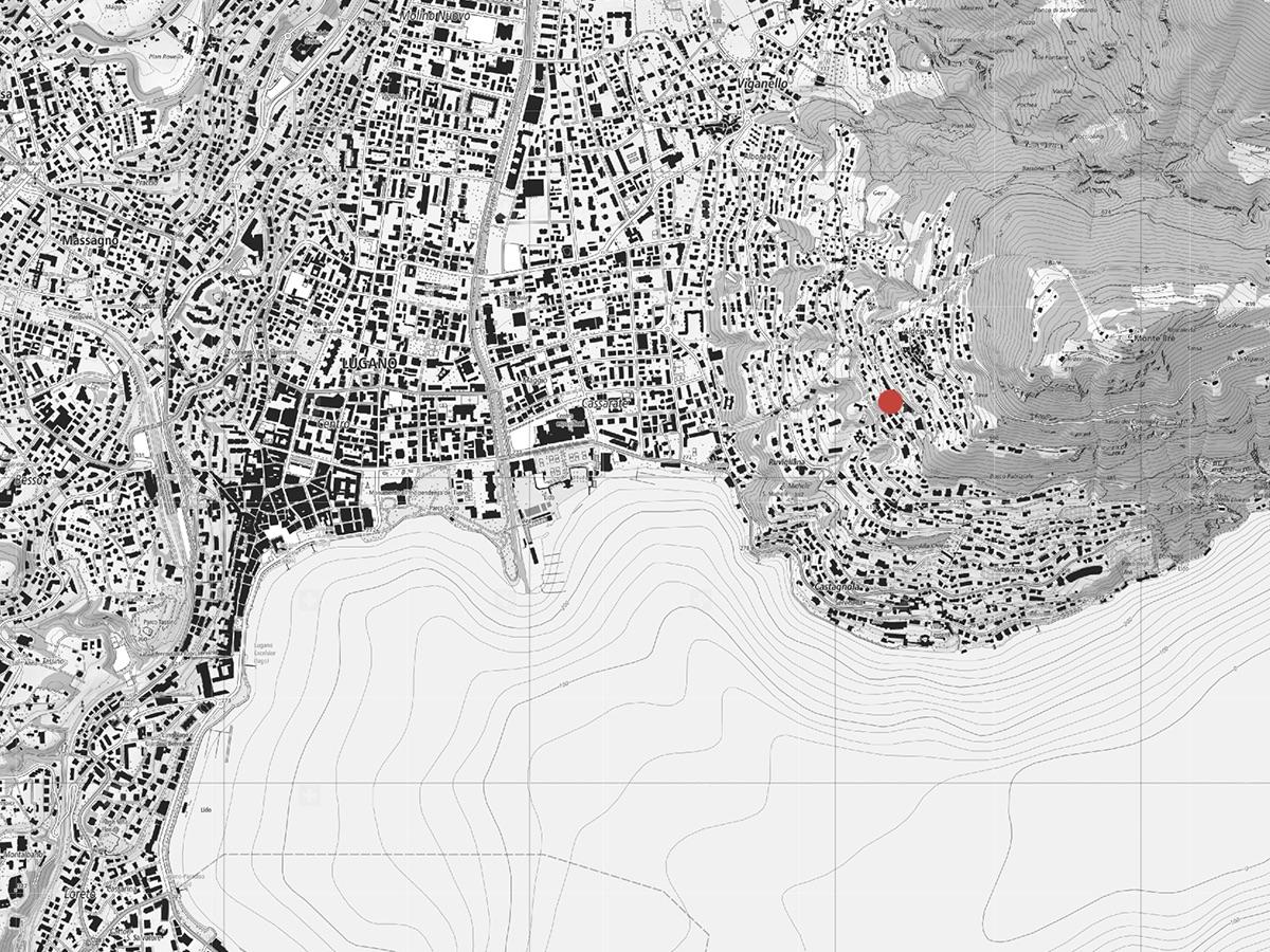 Der Situationsplan zeigt die Lage des Hauses in Aldesago am Abhang des Monte Brè.