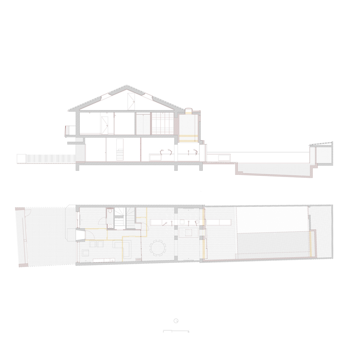 Rot (Neubau) und Gelb (Abriss) zeigen die Eingriffe in Erdgeschoss und Querschnitt.