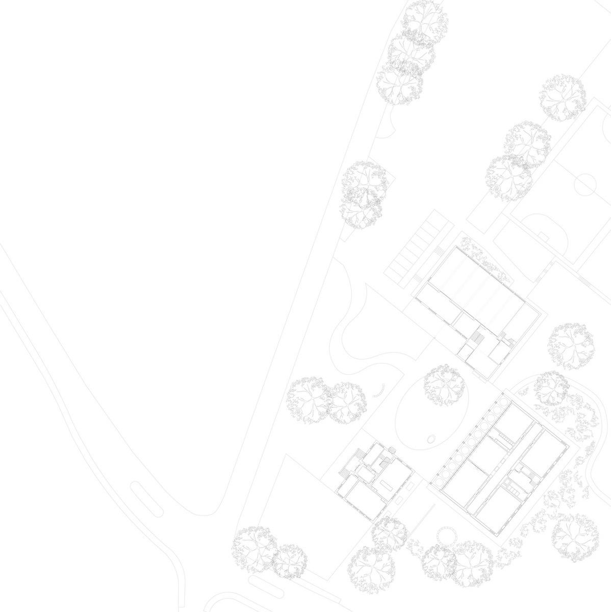 Die Situation zeigt das Schulensemble, mit dem Neubau von De Geeter in seiner Mitte.