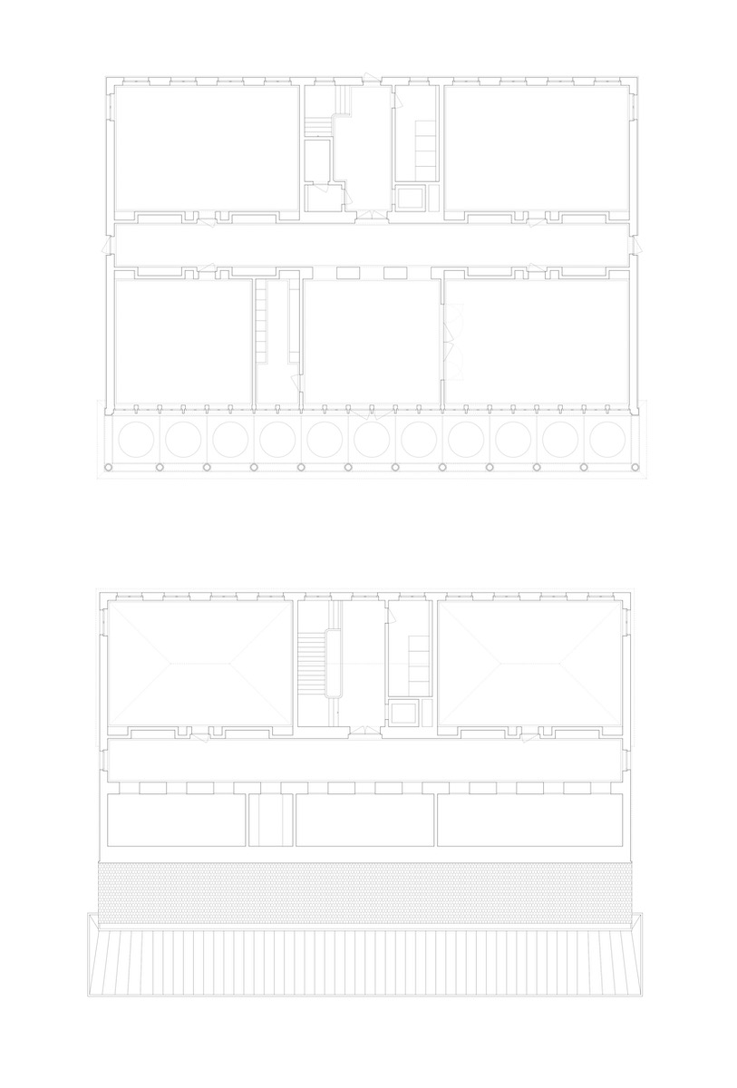 Vom geschichteten Aufbau geprägt: Erdgeschoss (oben) und Obergeschoss (unten).