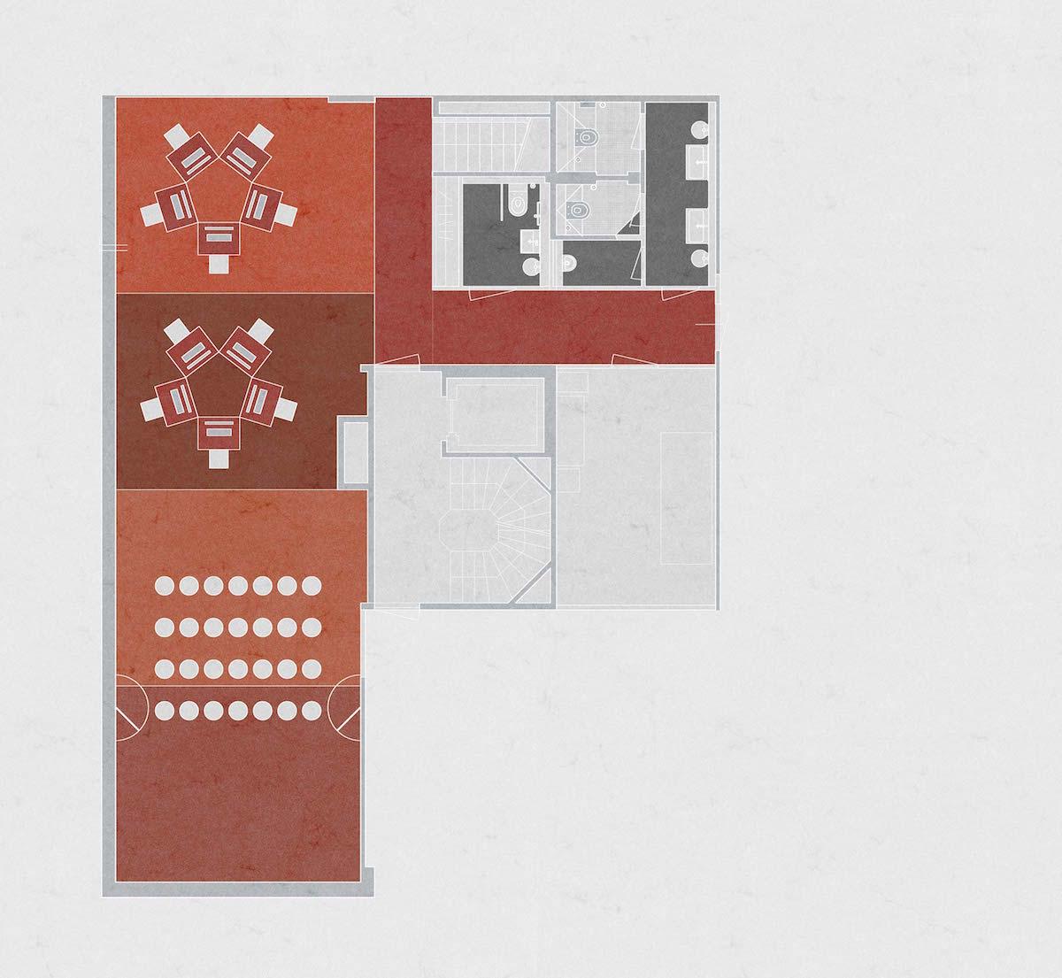 Im Untergeschoss befinden sich neben den Toiletten auch Räume für e-Sports mit sternförmiger Tischordnung sowie Live-Screenings und Workshops.