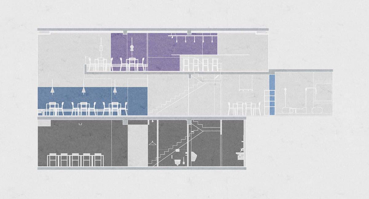 Der Querschnitt zeigt die farblich herausgehobenen Raumzonen und das luftige Entrée zur Strasse.