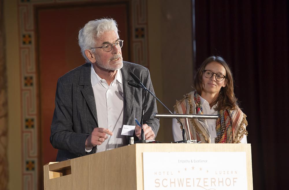 Daniel Kurz und Jenny Keller von werk, bauen + wohnen führten durch die BSA-Tagung 2021.