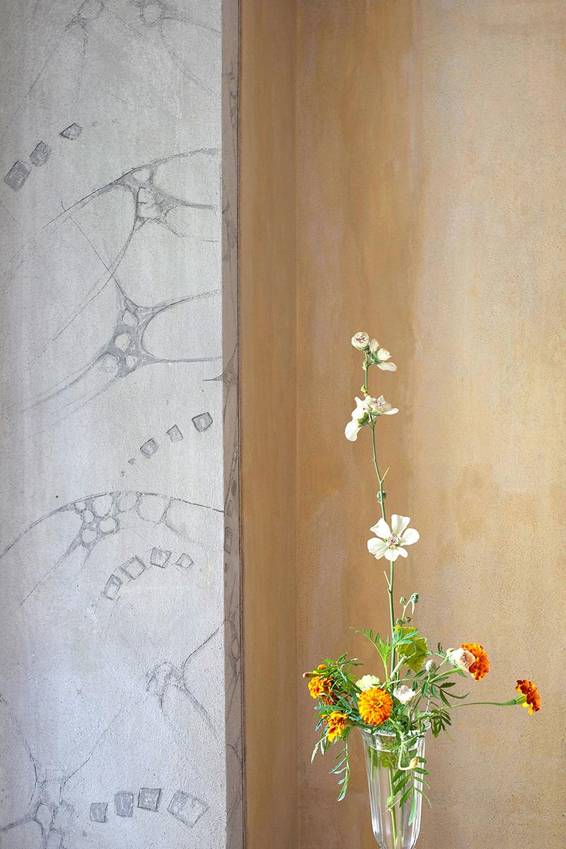 Gartenblumen als Schmuck in den neuen Gästezimmern (links) wie auch im Altbau (rechts) der Villa Garbald bilden die Motive der für einmal farbigen Fotos von Hans Danuser.  Bilder: H.D. Casal