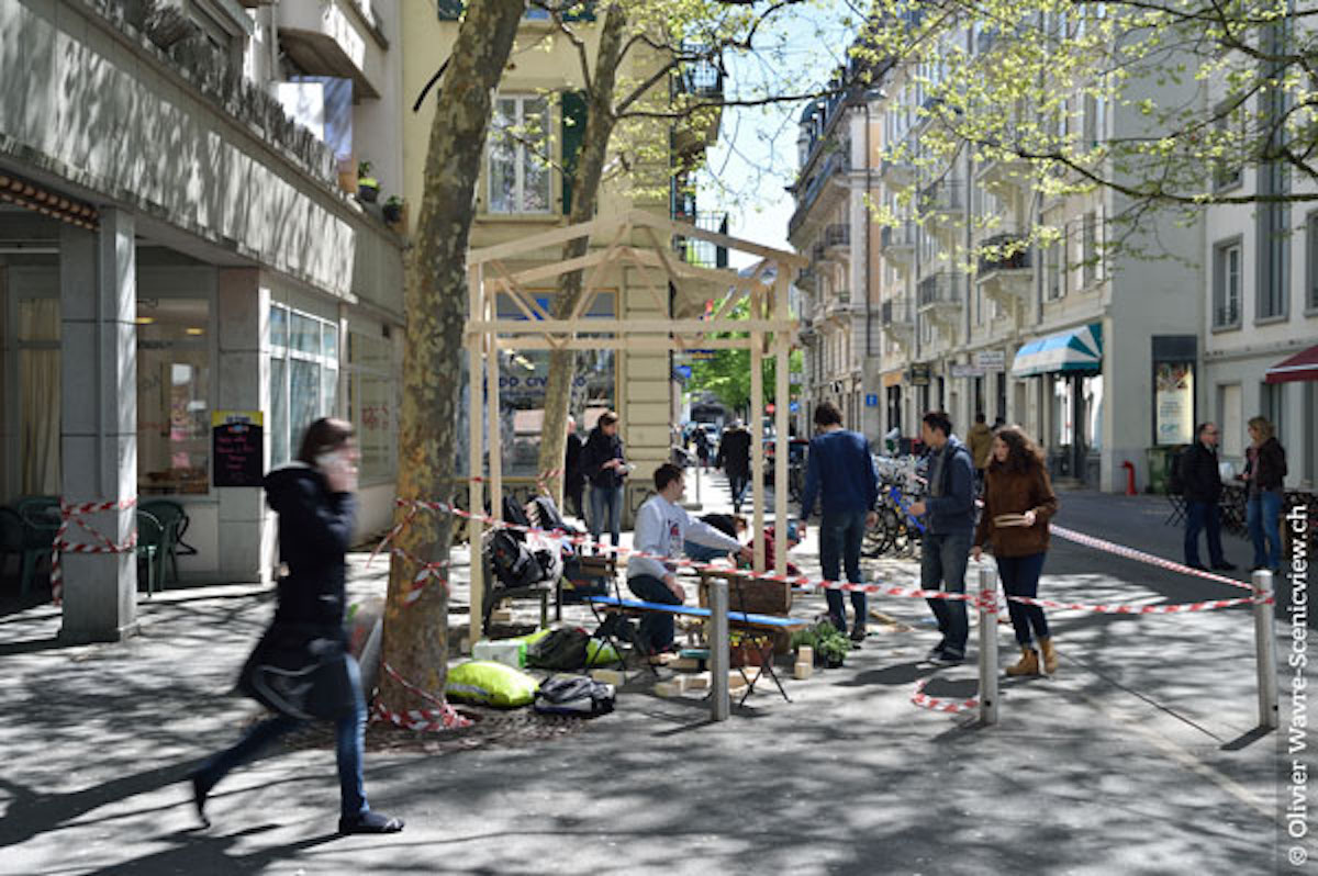 «Menschen, nicht Pläne machen Räume», hiess ein Slogan der VLP-Tagung. Im Bild eine Installation im Stadtraum zum Projekt Pôle Gare, Stadtumbau mit Beteiligung der Bewohner beim Bahnhof Lausanne.