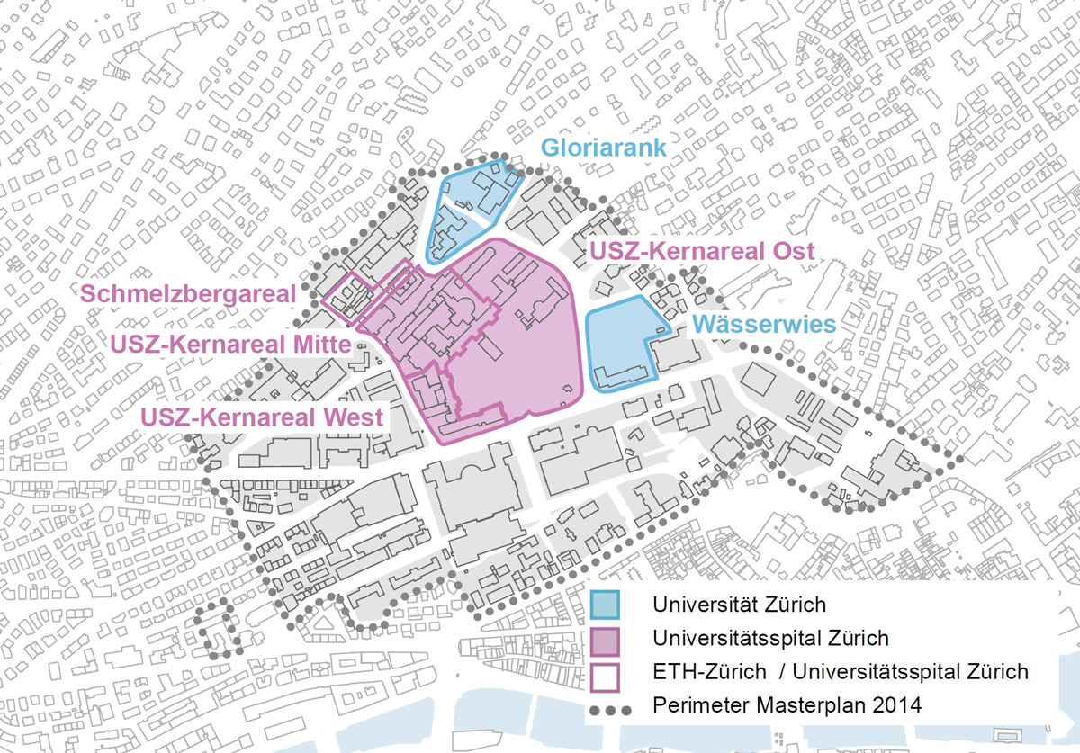 Hochschulgebiet Zürich, Übersicht der Gestaltungsplan-Perimeter.